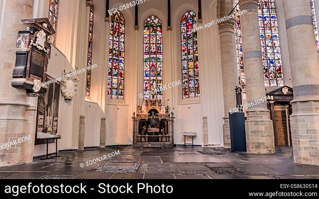 Interior of the New Church of Delft Netherlands. Church in which the royal famiy of the Netherlands is buried