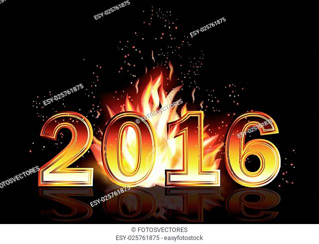 Hot new 2016 year fire banner, vector illustration