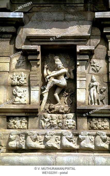 Nataraja on the exterior wall of the11th century Shiva temple at Gangaikondacholapuram, Tamil Nadu, India  Gangaikondacholapuram was established as a capital...