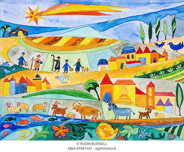 Watercolour of Heidrun Füssenhäuser, on the way to Bethlehem. Animals and people, the shepherds and the sheeps, everybody follow the star
