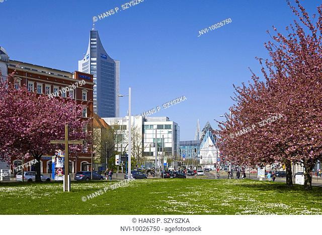 View from Johannisplatz to New Augusteum, Leipzig, Saxony, Germany