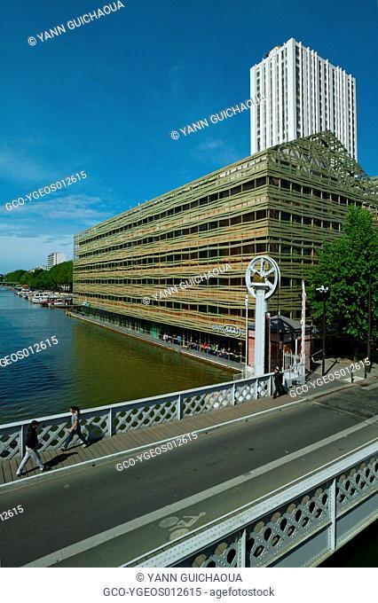 The Youth Hostel And Vertical Lift Bridge Of Flandre, Rue De Crimee, Paris, France