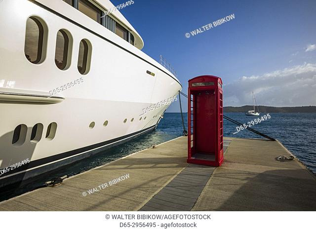 British Virgin Islands, Virgin Gorda, Leverick Bay, yacht harbor and English-style telephone booth