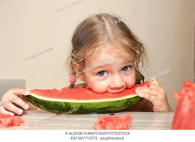 Two year old girl sitting at the kitchen table and eats with pleasure watermelon