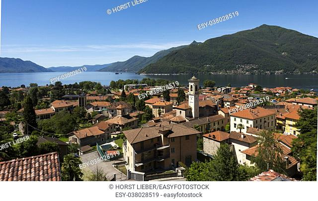 View over Maccagno to the southern part of Lake Maggiore - Maccagno, Lake Maggiore, Varese, Lombardy, Italy