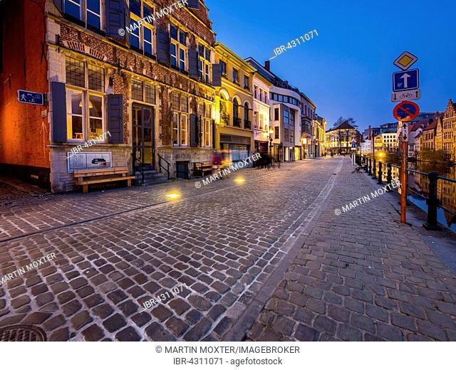 Kraanlei on the Lys, Twilight, Ghent, Flanders, Belgium