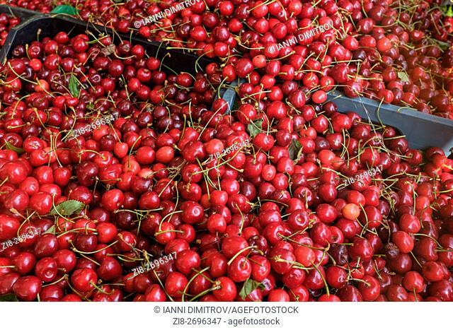 Fresh cherries on farmers market
