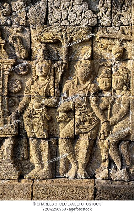 Borobudur, Java, Indonesia. Stone Carving Showing Scenes from the Buddha's Life, North Face