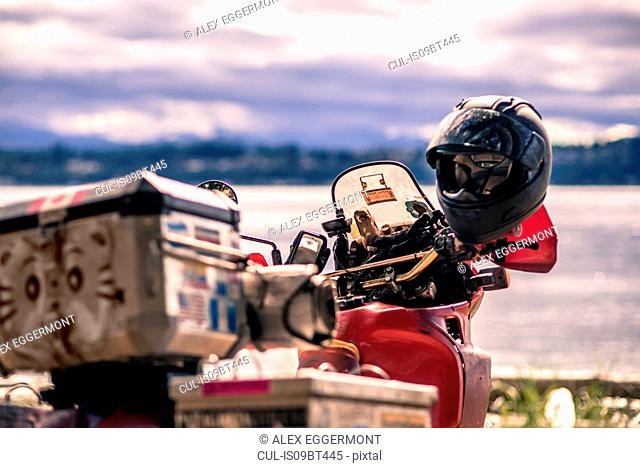 Touring motorcycle by Campbell River, Vancouver, Canada