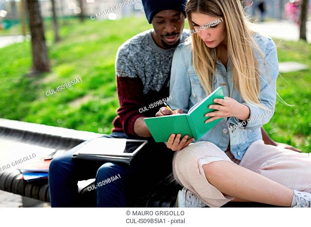 Young man and woman sitting on bench, studying together, man writing in woman's notebook