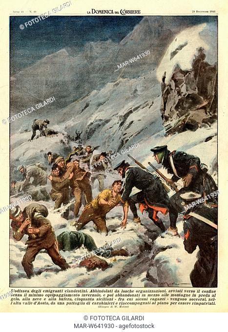 EMIGRAZIONE 'L'odissea degli emigrati clandestini ' Quarta di copertina della Domenica del Corriere illustrata da Walter Molino (1915-1997)