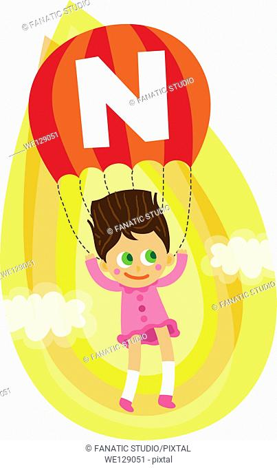 Illustration of girl parasailing in mid air