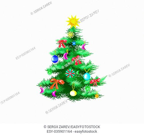 Festively Decorated Christmas Tree Isolated on White Background. Illustration in a classic cartoon style