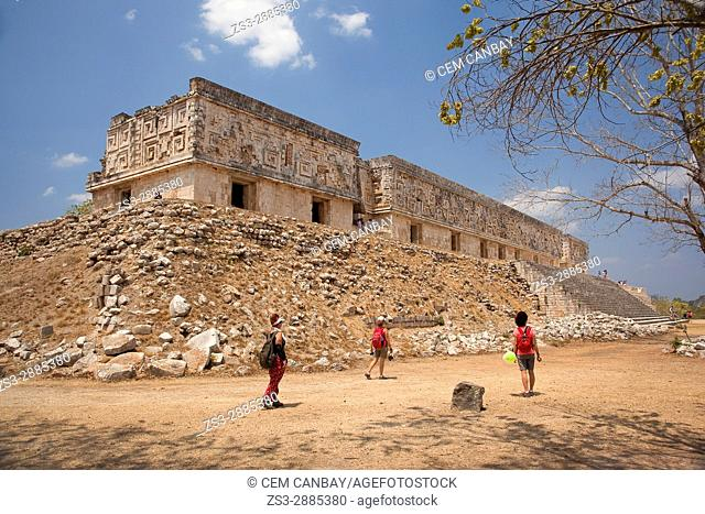 Tourists in front of the Governor's Palace-Palacio del Gobernador in Uxmal Ruins on the Puuc Route, Yucatan Province, Mexico, Central America