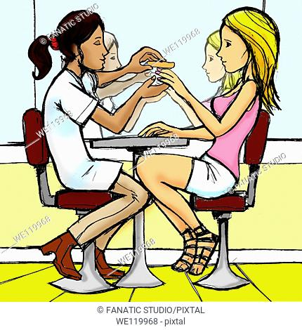 Woman having a nail manicure from a beautician