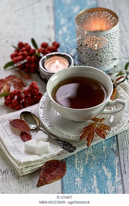 Autumn still life with precious tea cup with tea, napkin, sugar, silver spoon, candles and red berries on old wooden board