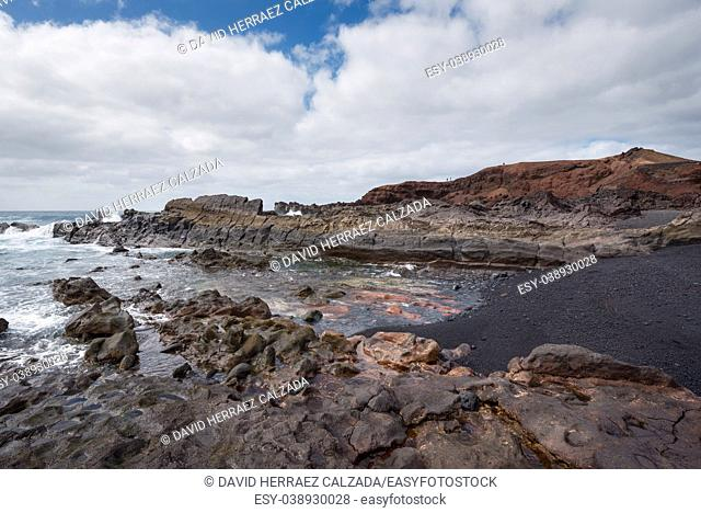 Volcanic coastline landscape in Lanzarote, Canary islands, Spain