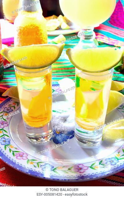 tequila salt lemon alcohol mexican drink