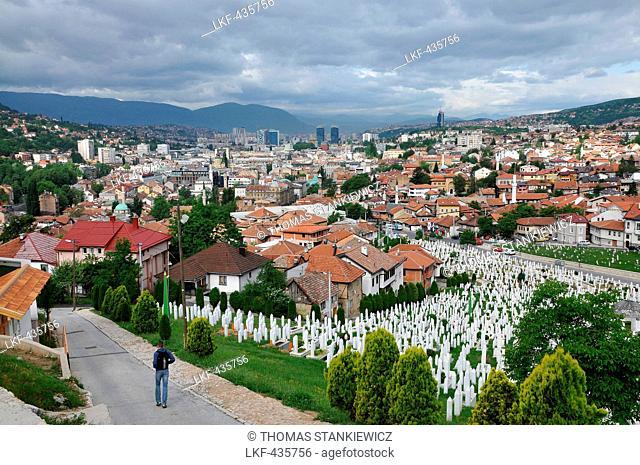 View of Sarajevo from the east with Muslim cemetery, Sarajevo, Bosnia and Herzegovina