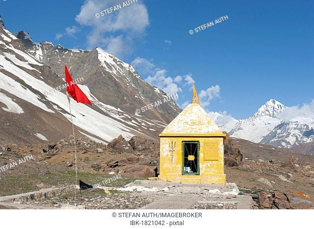 Hinduism, Hindu temple, mountain landscape, Manali-Leh highway, mountain road, Baralacha La mountain pass, 4980 m, near Keylong, Lahaul and Spiti district