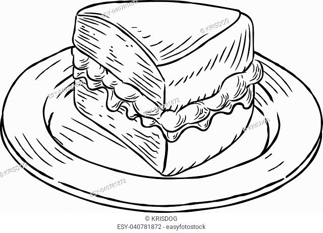 A jam and cream Victoria sponge cake slice on a plate hand draw in a retro vintage woodcut engraved or etched style