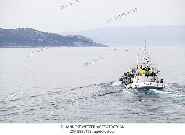 A ship on open water, Greece, Europe