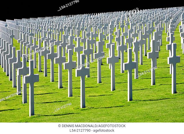 White Cross Markers Luxembourg American Cemetery and Memorial Europe