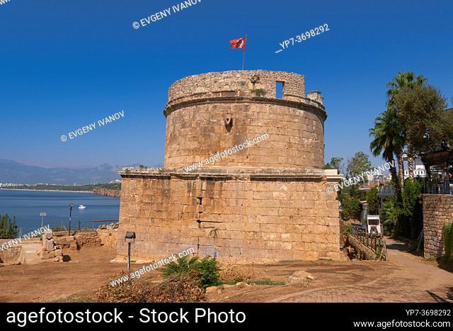 Hidirlik Tower in Kaleici district, Antalya old town, Turkey