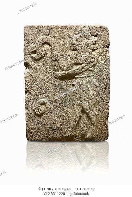 Hittite monumental relief sculpted orthostat stone panel from Water Gate Basalt, Karkamıs, (Kargamıs), Carchemish (Karkemish), 900-700 B. C