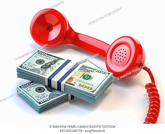 Telephone receiver and packs of dollars. Financial help and credit concept. 3d illustration