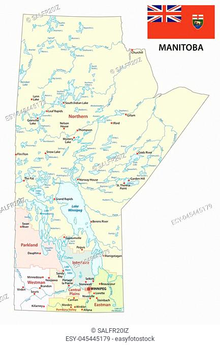 Province manitoba administrative and political map with flag
