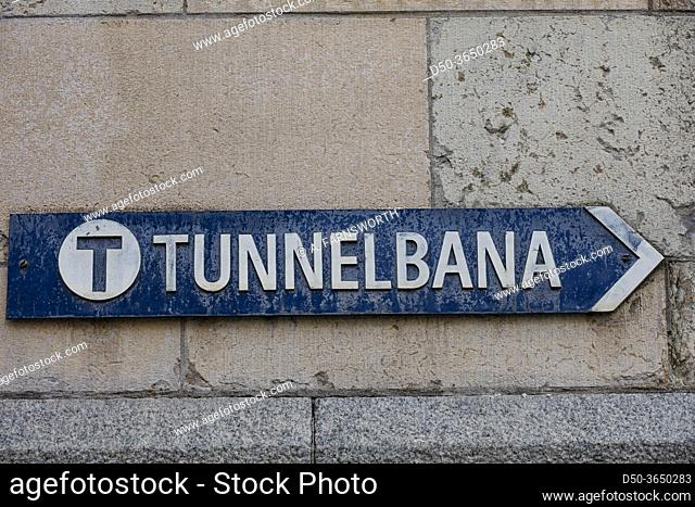Stockholm, Sweden AN old street sign for the tunnelbana, or subway
