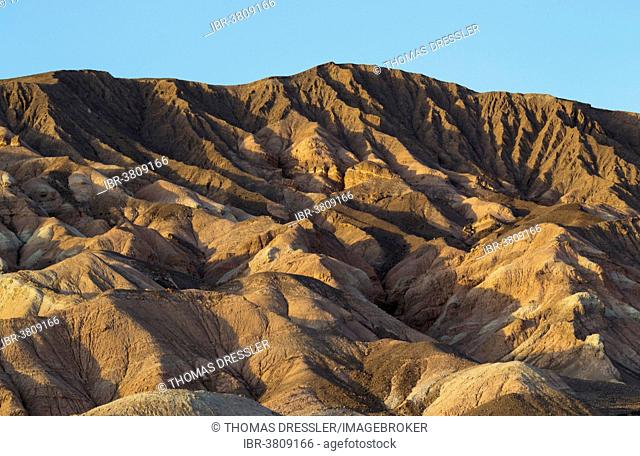 Badlands at the western foothills of the Grapevine Mountains in the Death Valley, Death Valley National Park, California, USA