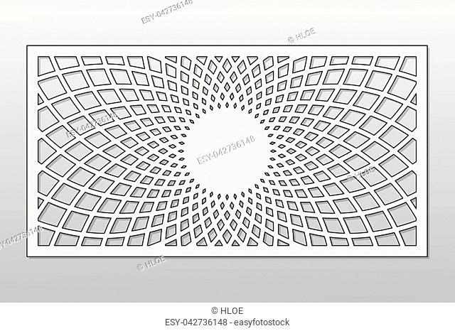 Template for cutting. Mandala, Arabesque pattern. Laser cut. Ratio 1:2. Vector illustration