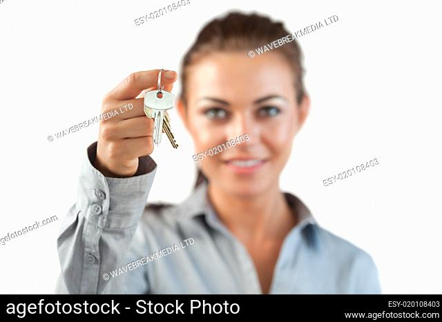 Close up of boxing glove used by businesswoman