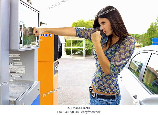 Angry woman fighting against gas for green environment