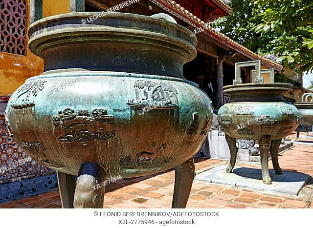 Nine Dynastic Urns at the Hien Lam Pavilion (Pavilion of the Glorious Coming). Imperial City (The Citadel), Hue, Vietnam