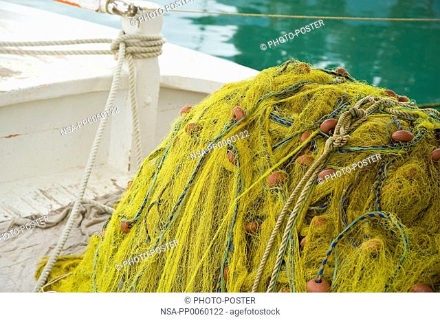 Fishing net on a boat in Greece