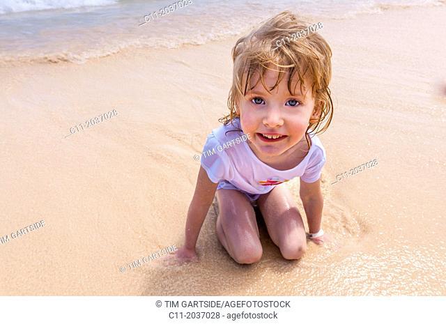 young girl on beach, Riu Palace, hotel, Punta Cana, Dominican Republic, Caribbean