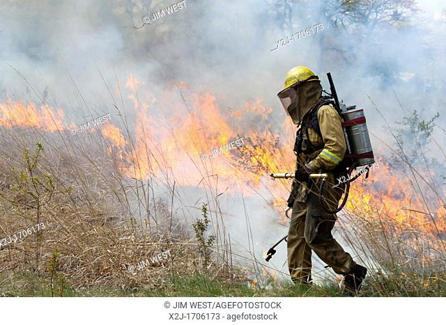 Detroit, Michigan - Woman wears protective clothing as she helps burn parts of River Rouge Park with the aim of eliminating invasive species  After the fire