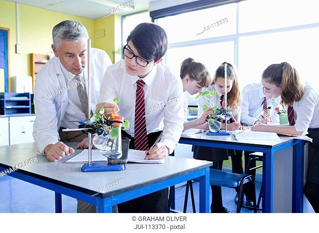 Teacher teaching high school student conducting scientific experiment in biology class
