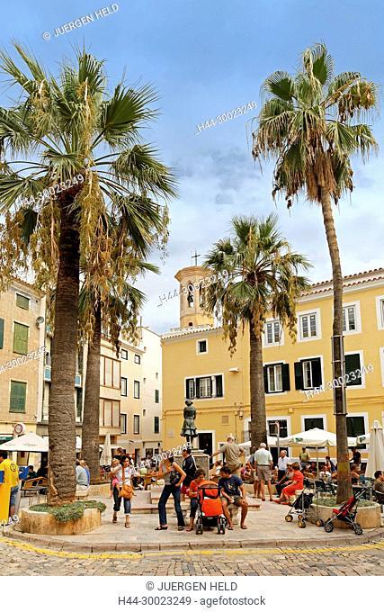 Spain Menorca Mahon old city center Plaza de Colon Eglesia de Santa Maria