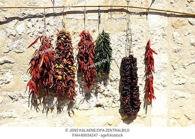Dried pepper, tomatoes, and chilis on a market in Sineu (Majorca), Spain, 04 May 2016. Photo: Jens Kalaene/dpa | usage worldwide