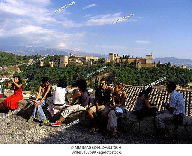 Tourists looking from the mirador San Nicolas at the Alhambra, Spain, Andalucia, Granada