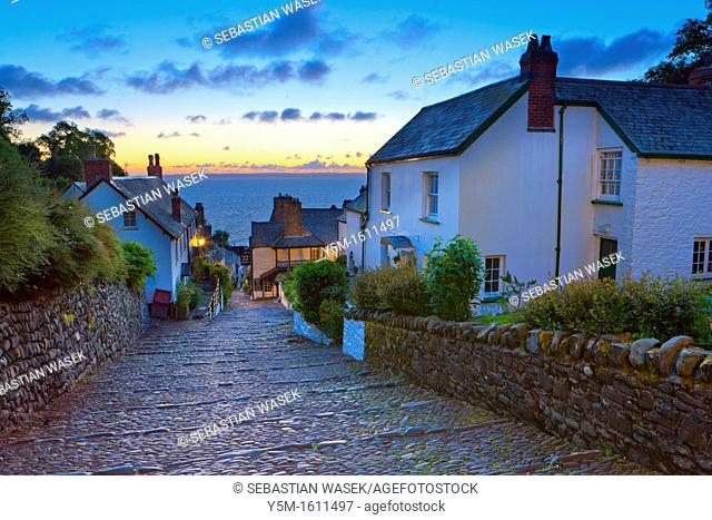 The narrow cobbled streets of Clovelly, North Devon, England, UK, Europe