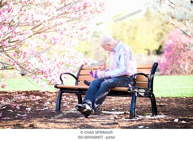 Grandfather and granddaughter together on park bench