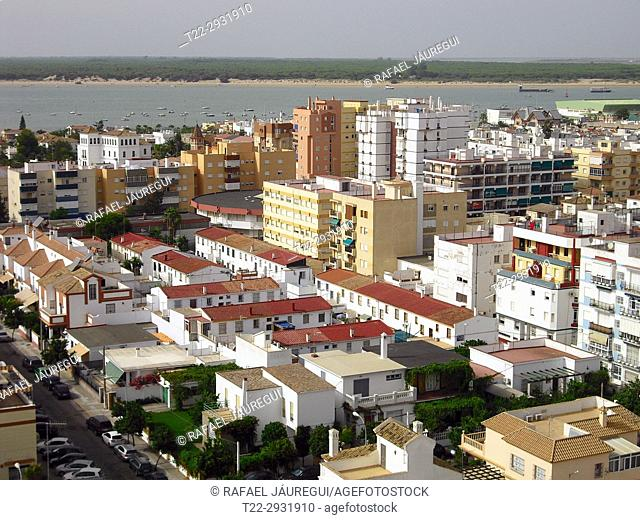 Sanlucar de Barrameda (Cádiz). Spain. Mouth of the river Guadalquivir next to the town of Sanlúcar de Barrameda in the province of Cádiz