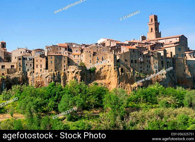 Pitigliano, Italy-april 29, 2018: view of Pitigliano, medieval town in Tuscany during a sunny day