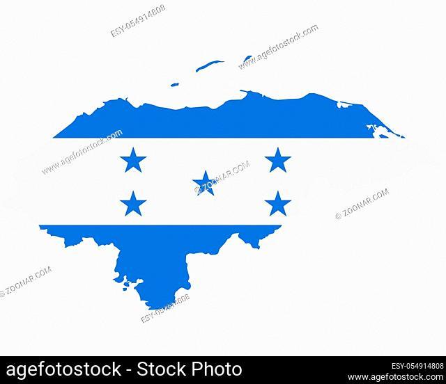 Fahne in Landkarte von Honduras - Flag in map of Honduras