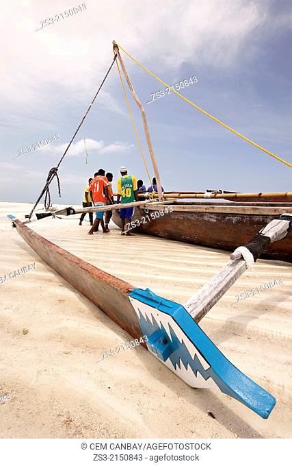 Fishermen trying to place the boat on wood blocks at the low sea level, Jambiani, Zanzibar Island, Zanzibar Archipelago,Tanzania, East Africa